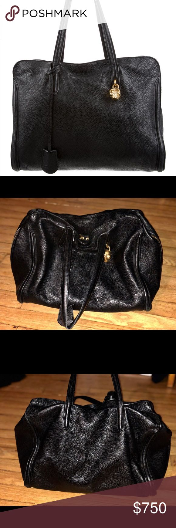 Authentic Alexander McQueen Skull Zip-Around Tote Up for sale is an authentic Alexander McQueen zip around tote bag with a golden skull padlock. Good condition, some minor scratching on the skull padlock. The leather is in excellent condition, thick and soft. Any questions or need more pics, just ask. Alexander McQueen Bags Totes