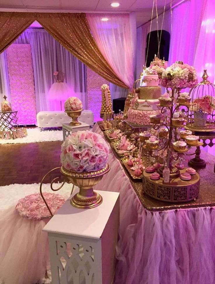 Gorgeous pink and gold princess birthday party! See more party planning ideas at CatchMyParty.com!