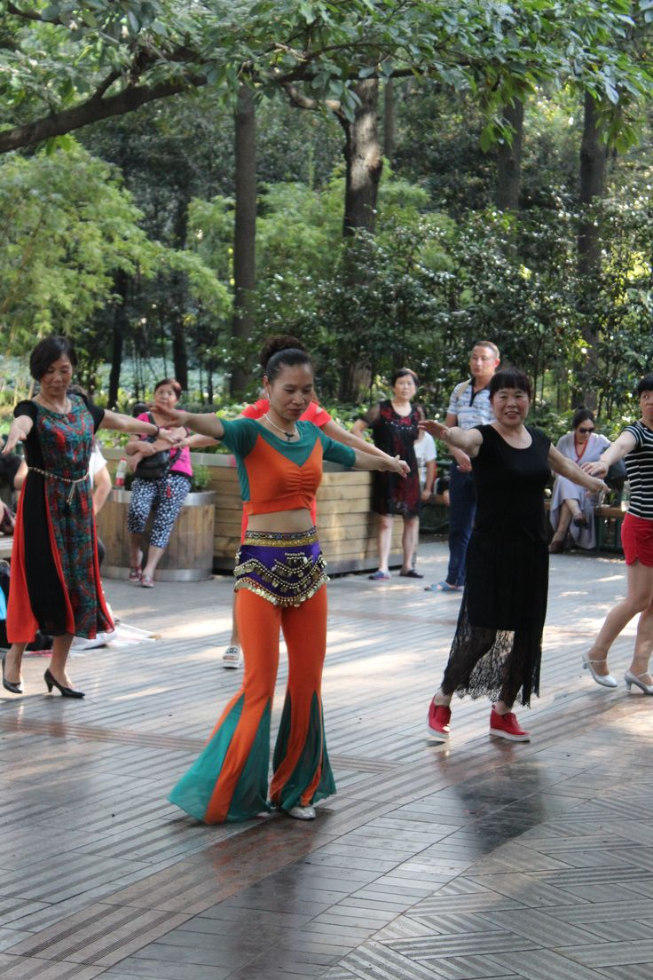 The Peoples Park, Chengdu. The most bizarre sight of all in the park was this dancing class taking place amongst the bushes...