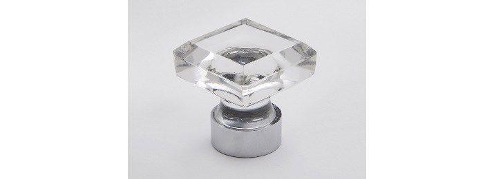 Clear square glass knob