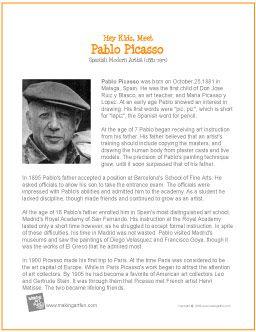 Hey Kids, Meet Pablo Picasso | Printable Biography - http://makingartfun.com/htm/f-maf-printit/pablo-picasso-print-it-biography.htm