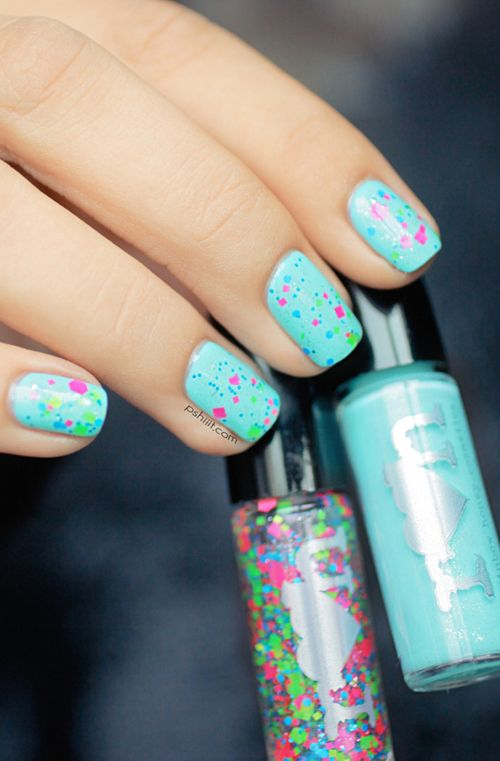 Rainbow Honey 'Magic Cake' (neon pink, blue and lime green glitters) over 'Mint Flavor' (mint creme with micro-flakes and shimmer)