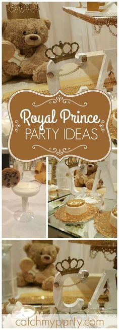 You have to see this elegant royal teddy bear themed baby shower! See more party ideas at CatchMyParty.com!