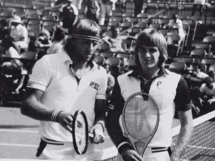 #tbt @usopen 1980 semi-final: @johankriek vs Björn Borg. Johan Kriek was up 2 sets to 0 in the semi-final match and lost in 5 sets. #JohanKriek #BjörnBorg #USOpen #semifinal #GrandSlam #ATP #tennis #memories #tennislegends