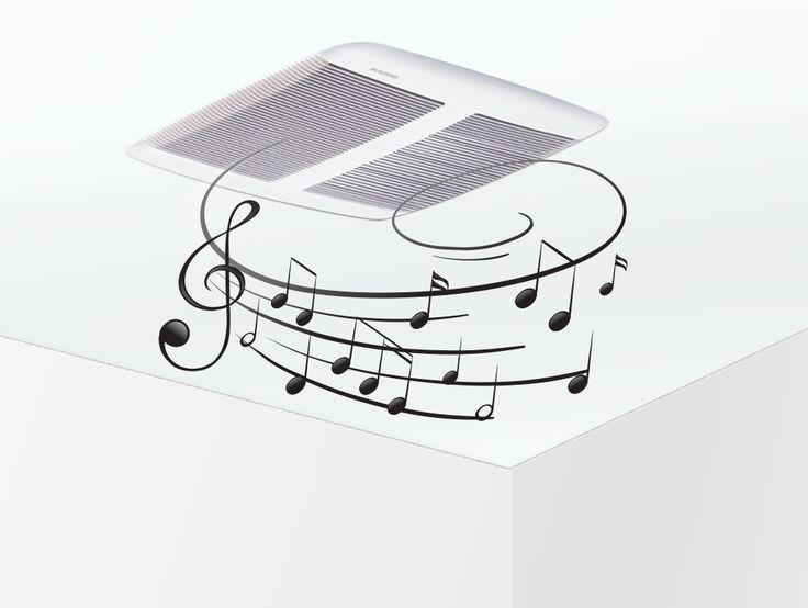 Le ventilateur avec haut-parleurs Broan Sensonic vous permet d'apprécier votre musique préférée facilement depuis votre appareil personnel via la technologie sans-fil Bluetooth. Ce ventilateur efficace est extrêmement silencieux et évacue rapidement l'humidité et les mauvaises odeurs. Dites adieu aux routines du matin ennuyantes!