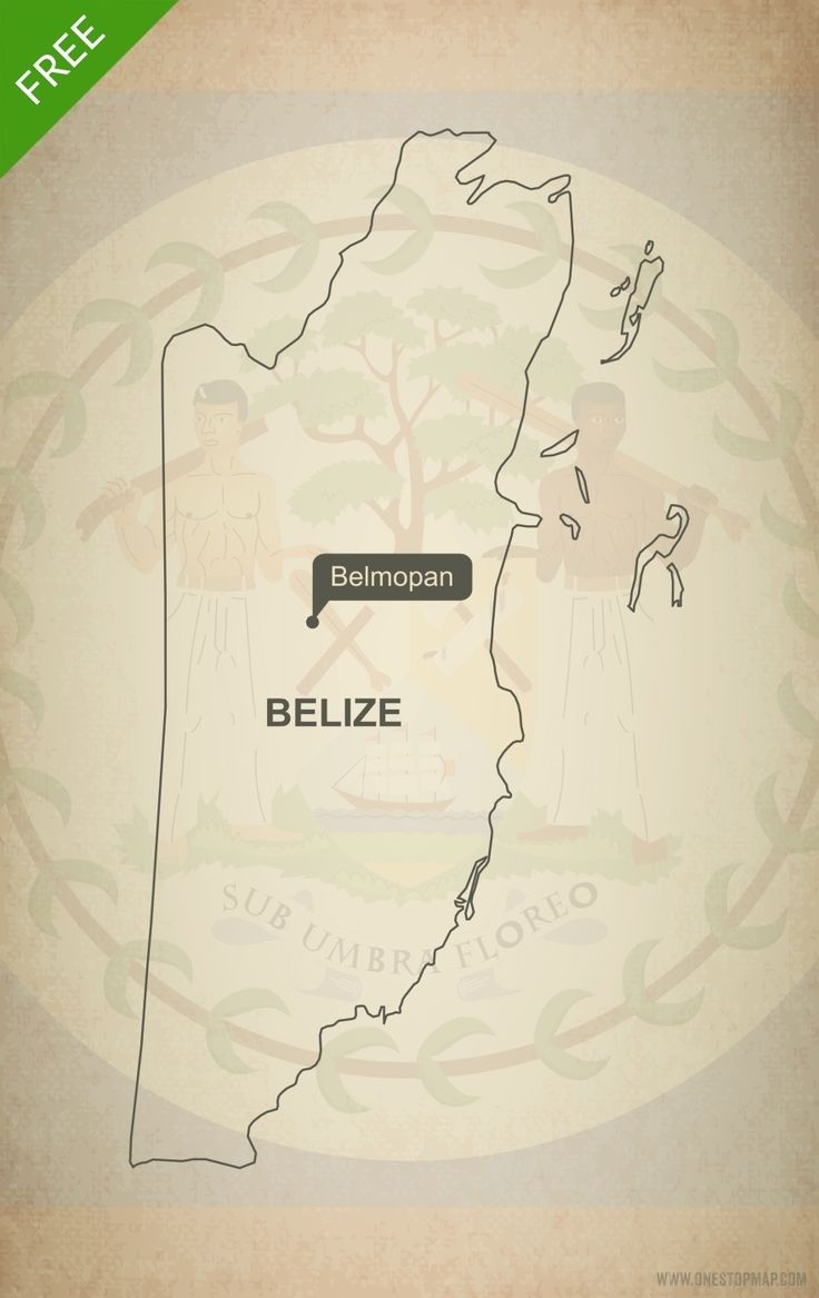 North America Political Outline Map%0A Free Vector Map of Belize Outline