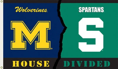 Michigan Wolverines - Michigan State Spartans 3x5 House Divided Rivalry Flag