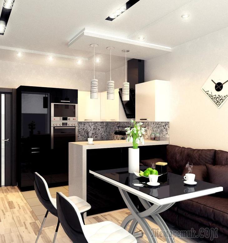 Кухня - гостиная, черно белый глянец