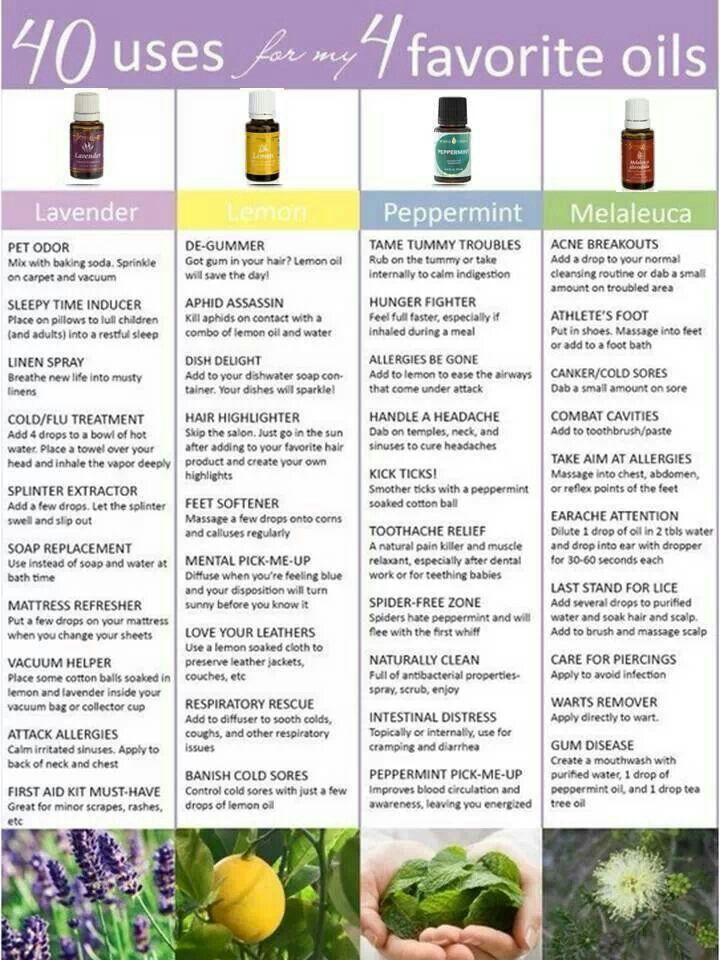 40 uses for 4 favorite essential oils