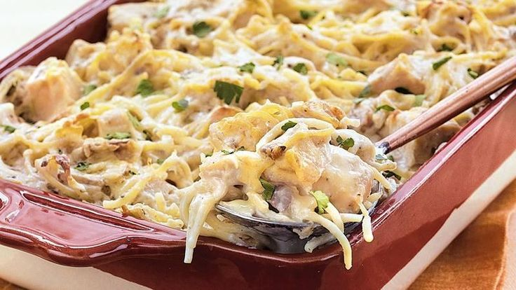 Enjoy this creamy chicken and mushroom spaghetti casserole – a hearty pasta dinner recipe for your family.