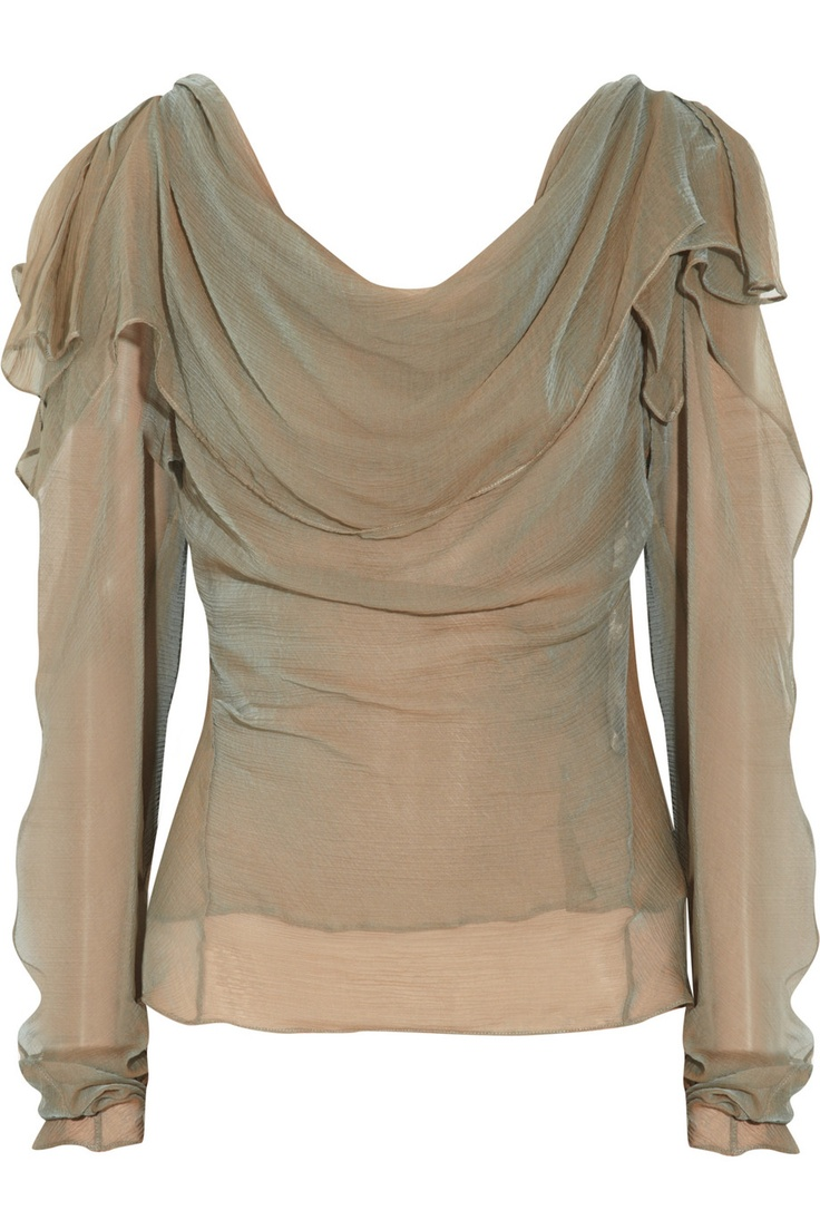 Iridescent silk-georgette blouse...does it get any better than that?