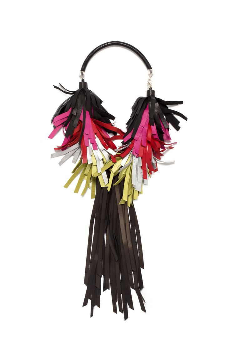 Bird Necklace_Dark Reinbow ELEMNTS Collection 2016/17 Leather jewellery by My Golden Cage
