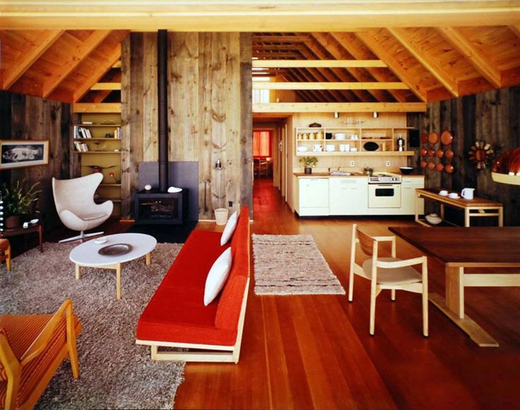 Interior of a concept for an inexpensive, prefabricated vacation cottage designed by Jens Risom in the 1960's.