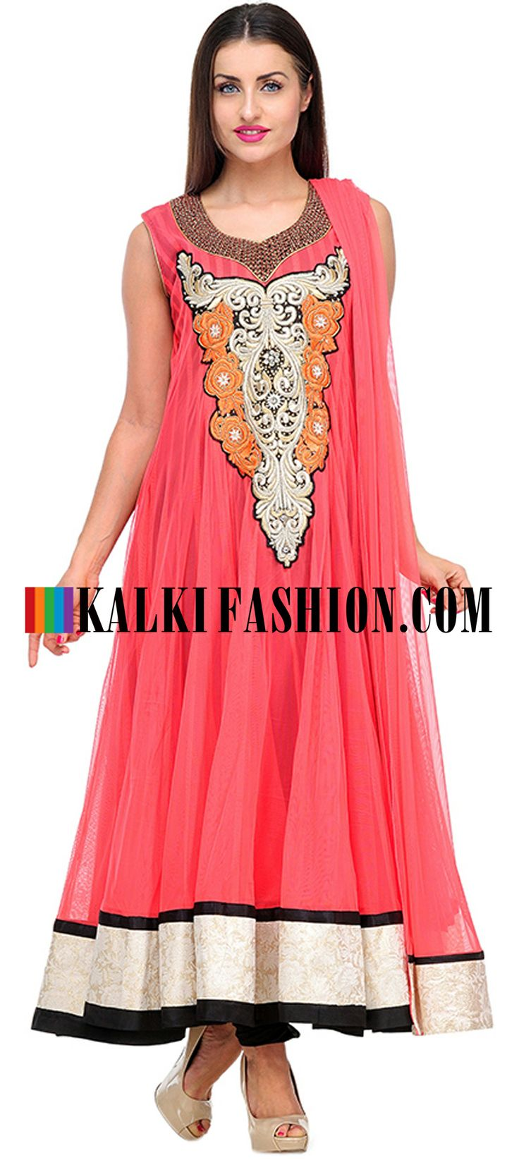 Buy Online from the link below. We ship worldwide (Free Shipping over US$100)  http://www.kalkifashion.com/peach-net-embroidered-anarkali-suit.html
