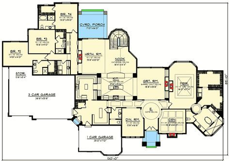 Luxury 4 Tuscan Ranch House Plan - 89978AH | Architectural Designs - House Plans