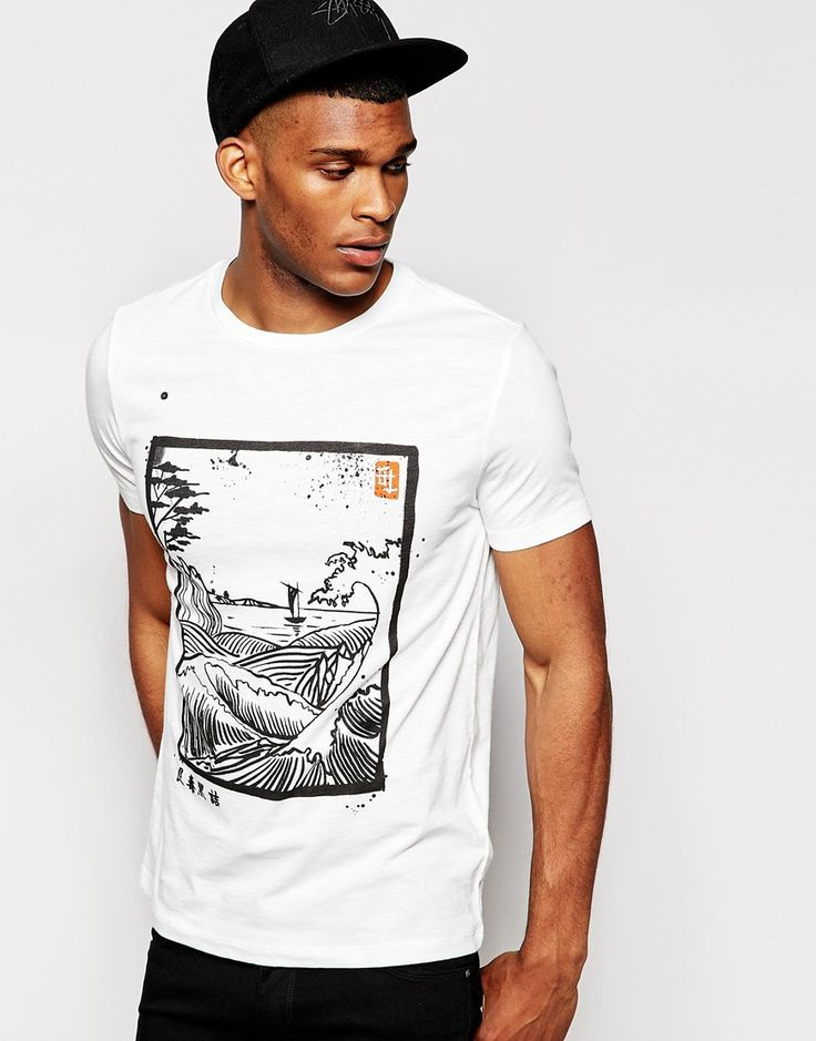 ASOS T-Shirt In Slub Fabric With Japanese Floral Print