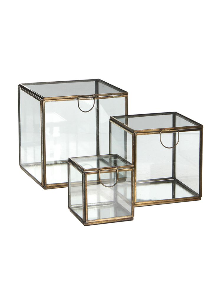 Three Glass Display Cubes