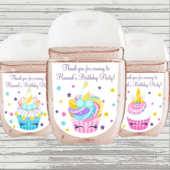 Unicorn Cupcake Party Favor Hand Sanitizer Label Digital File