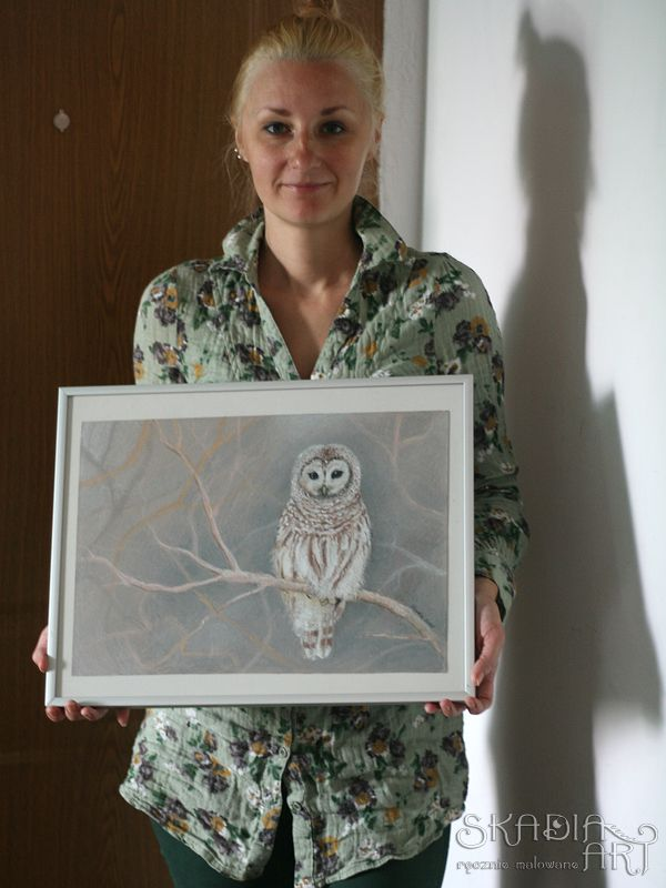 Oil pastel by Skadia Art, an order for the owl lover.