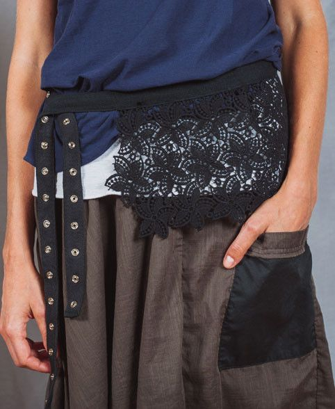 Lace shroud worn as a belt , all garments by sustainable, Vegan friendly label, Bestowed