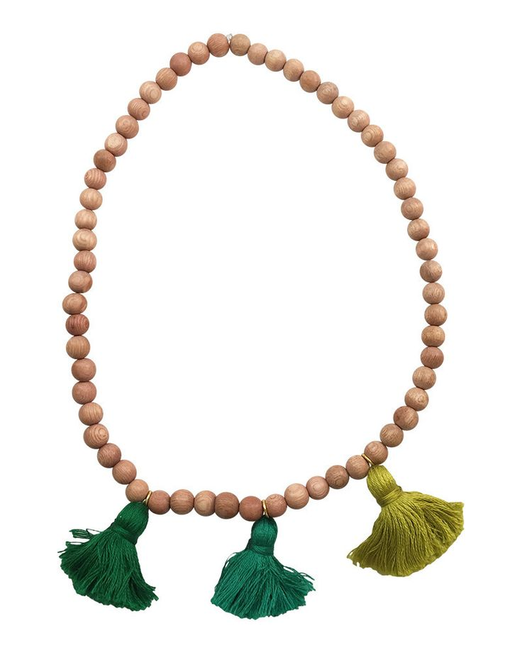 Boho Beads | Green Beaded Tassel Necklace #loveandpieces