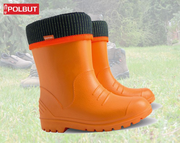 #Orange #wellington #boots for kids !, perfect for rainy days, soft cotton inside and great rubber pattern.