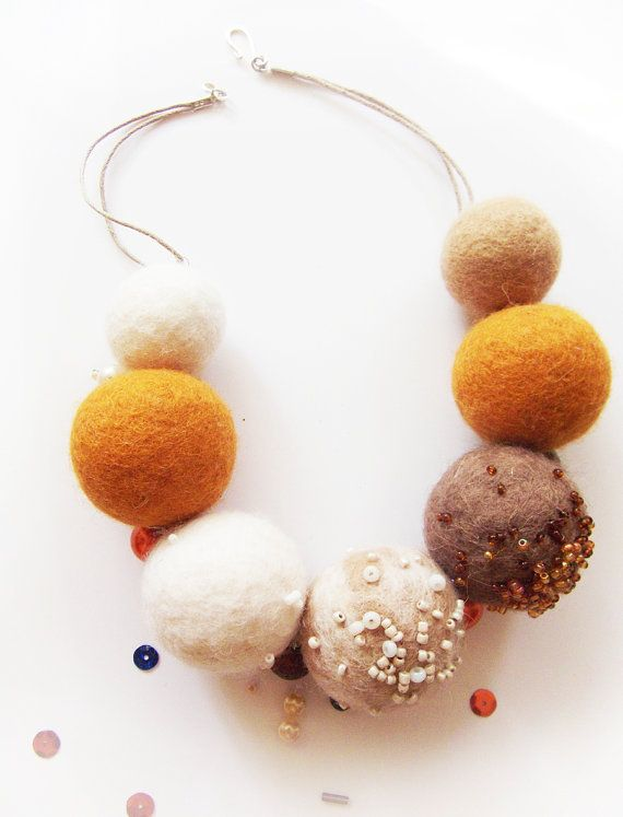 Hand felted necklace, Felt Beaded Necklace, felted beads, decorated with vintage beads.