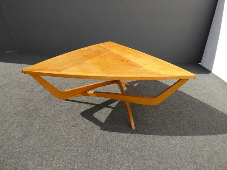 Unique Vintage Danish Modern Art Deco Style Solid Wood Triangle Coffee Table