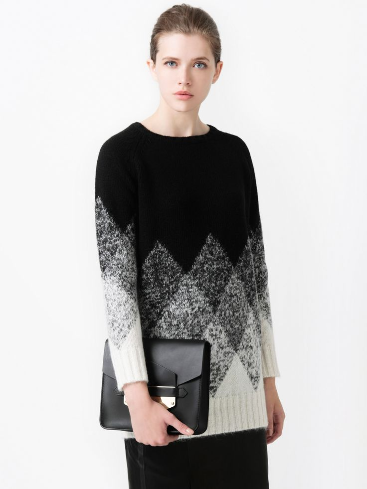 Diamond Mohair Knit with the Leather Skirt and Sophie Hulme Clutch / LE CIEL BLEU