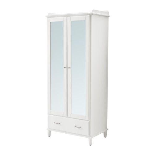 TYSSEDAL Wardrobe, white, mirror glass white/mirror glass 34 5/8x22 7/8x81 7/8
