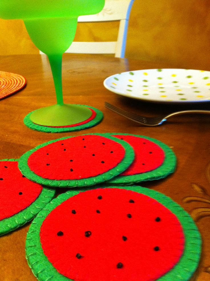 Felt Coasters Handsewn Watermelon Coasters by HomemadeHeartfelt, $15.00