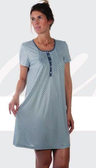 Camisón viscosa celeste con lunares en marino. http://www.perfumeriaelajuar.com/homewear/pijamas-y-camisones-mujer-verano/35/