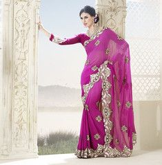 #Pink color #Georgette material #wedding #designer #saree #sari from Yellowfashion.in