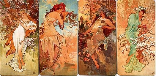 Alfons Mucha – Jaro, Léto, Podzim, Zima (1896) | Alenčiny záliby