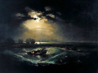 Fishermen at Sea (1796) JMW Turner. Turner has created a very powerful painting of a storm. The contrast between the darkness around the ship and the light from the moon has given it a sense of mystery and also draws the eye towards the boat which is struggling against the wild waves and the serene blues of the waters. This emphasizes natures overwhelming power against mankind. This painting was created with oil paint which has formed a delicate but powerful image.