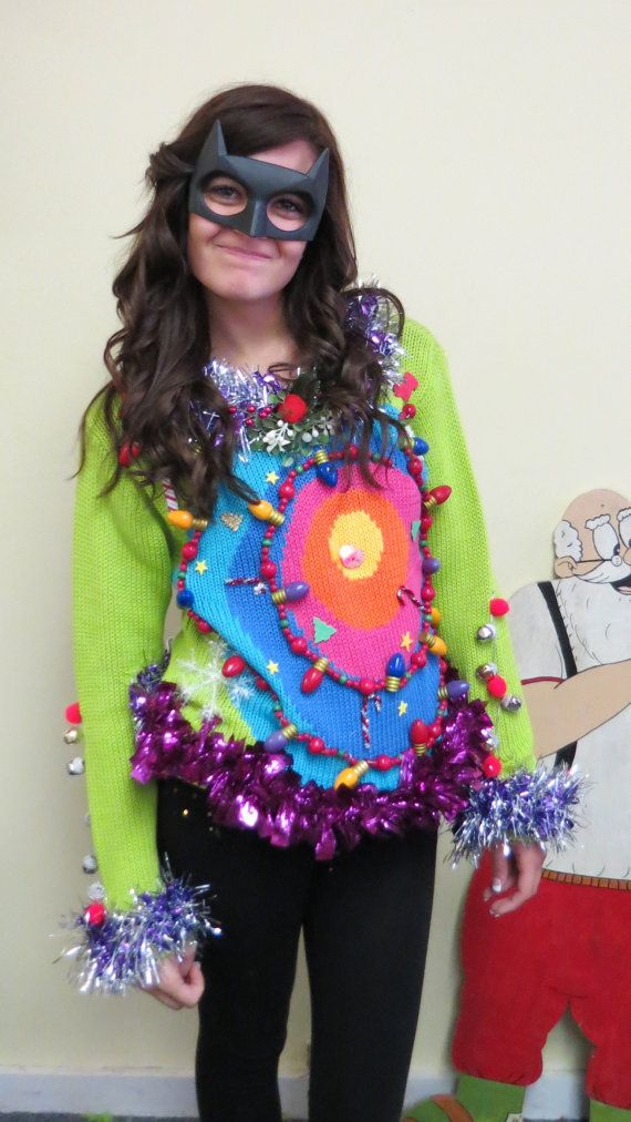 Acid Trip Wild Colors Wacky Tacky Ugly Christmas Sweater