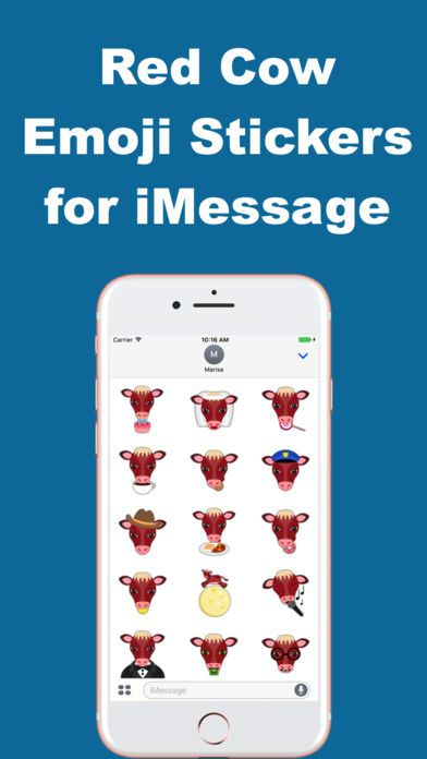 Red Cow Emoji Stickers for iMessage by Marisa Marquez