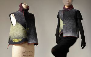 Short Vest Description: Hand loomed, dyed, felted, wool Dimensions: H:0.10 x W:0.10 x D:0.10 Inches