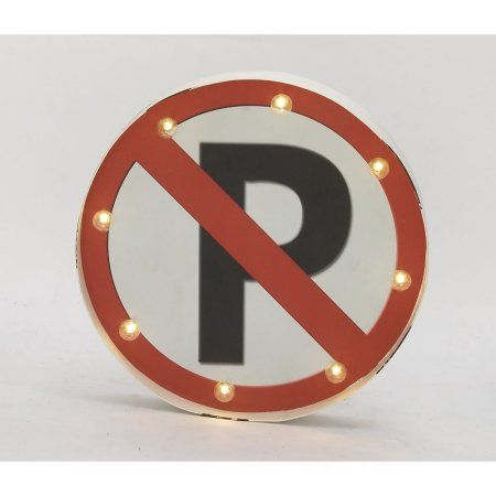 Exclusive Metal Led No Parking Sign, Multicolor