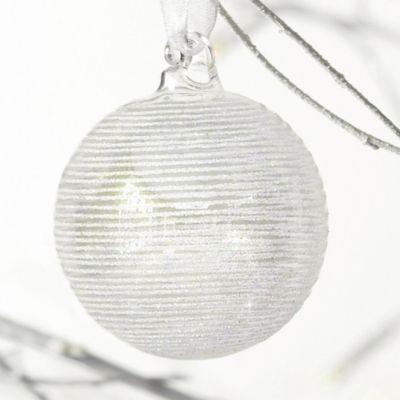 Large Glitter Stripe Bauble  from The White Company #whitechristmaswishlist
