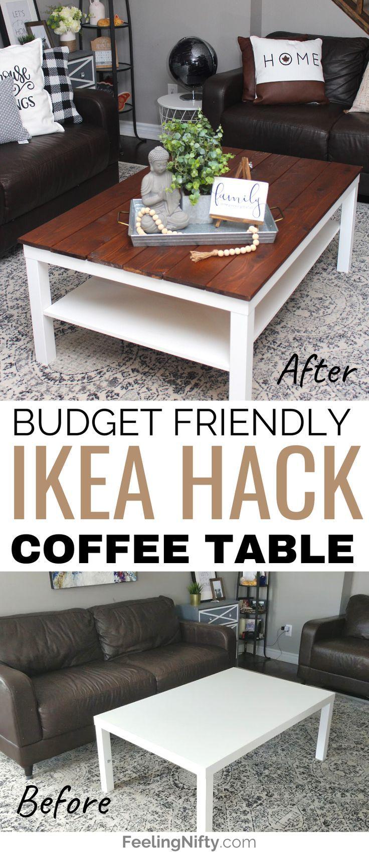 Diy Farmhouse Coffee Table Ikea Hack Makeover Feeling Nifty Coffee Table Farmhouse Diy Farmhouse Coffee Table Coffee Table [ 1696 x 736 Pixel ]