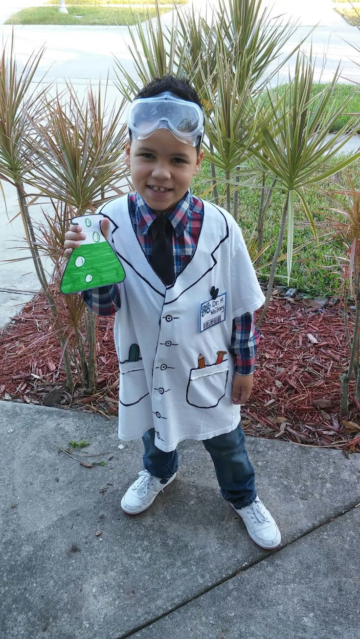 T-shirt and marker scientist lab coat for career day at school.