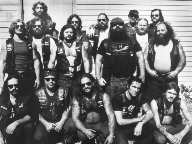 """Five of the Laval, Que., Hells Angels chapter were killed in what came to be known as the Lennoxville Purge of 1985. In the second row, wearing the cap, is Robert """"Tiny"""" Richard, believed to be the national leader of the Hells Angels."""