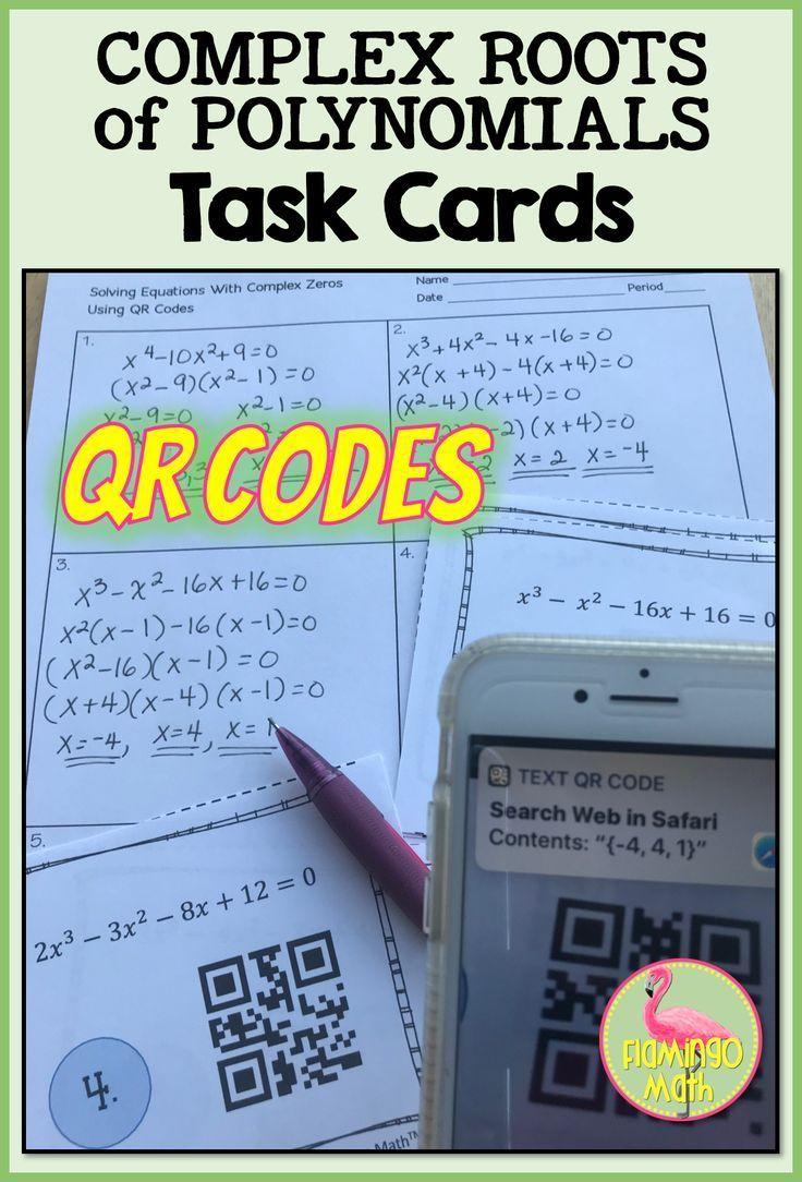 Complex Roots Task Cards QR Codes (PreCalculusUnit 2