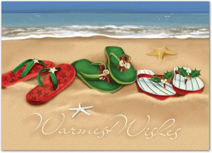 christmas flip flops on the beach