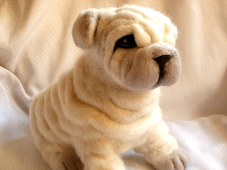 Needle Felted Dog Shar Pei Puppy Dog Sculpture - Paddy -