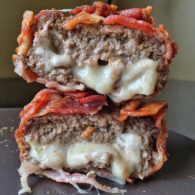 Bacon Wrapped Mozzarella Stuffed Burgers (I'm gonna grill these, not deep fat fry them.)