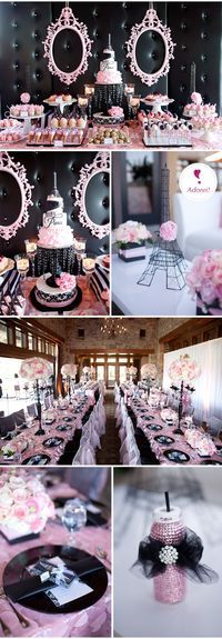 @Melissa Squires Lou...this better be my shower theme one day! lol Chá de bebe #20 – Baby Paris | Baby Shower Black and Pink