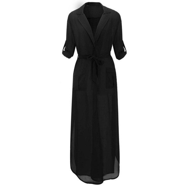 Yoins Black Plunge V-Neck Belted Maxi Chiffon Dress (540 CZK) ❤ liked on Polyvore featuring dresses, yoins, black, belted shirt dress, v neck dress, long shirt dress, side slit maxi dress and plunging v neck dress