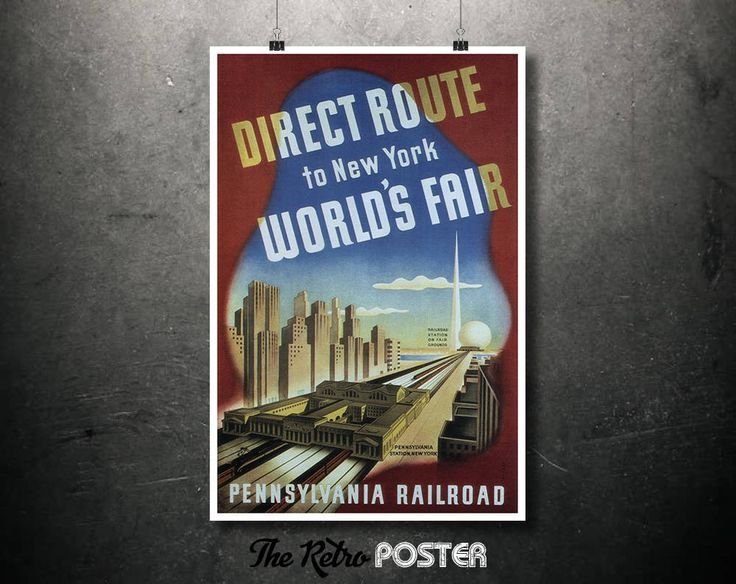 Travel - 1939 Pennsylvania Railroad - Direct Route to New York World's Fair - Travel Poster Vintage, United States Wall Art, Railway Poster by TheRetroPoster on Etsy